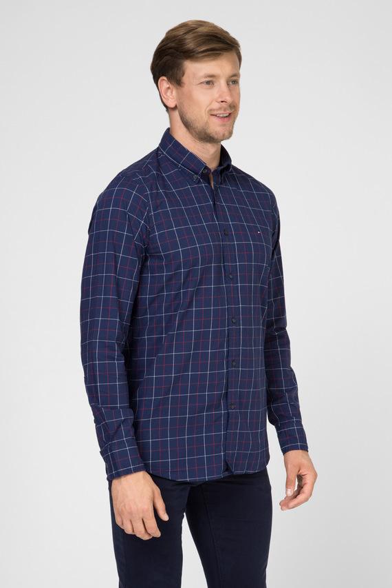 Мужская синяя рубашка в клетку SLIM CLASSIC WINDOWPANE