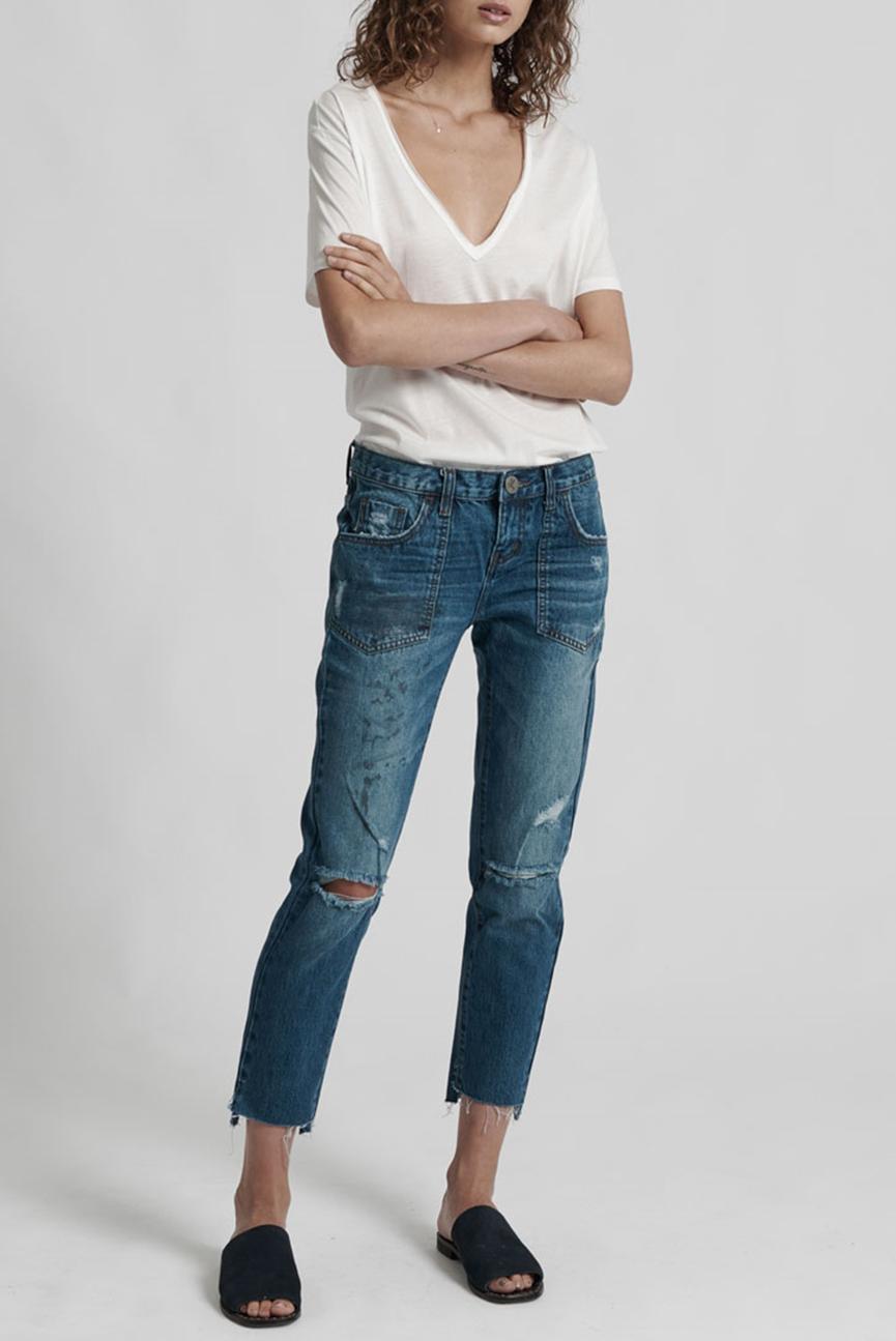 Женские голубые джинсы  LUCKY BLUE AWESOME BAGGIES