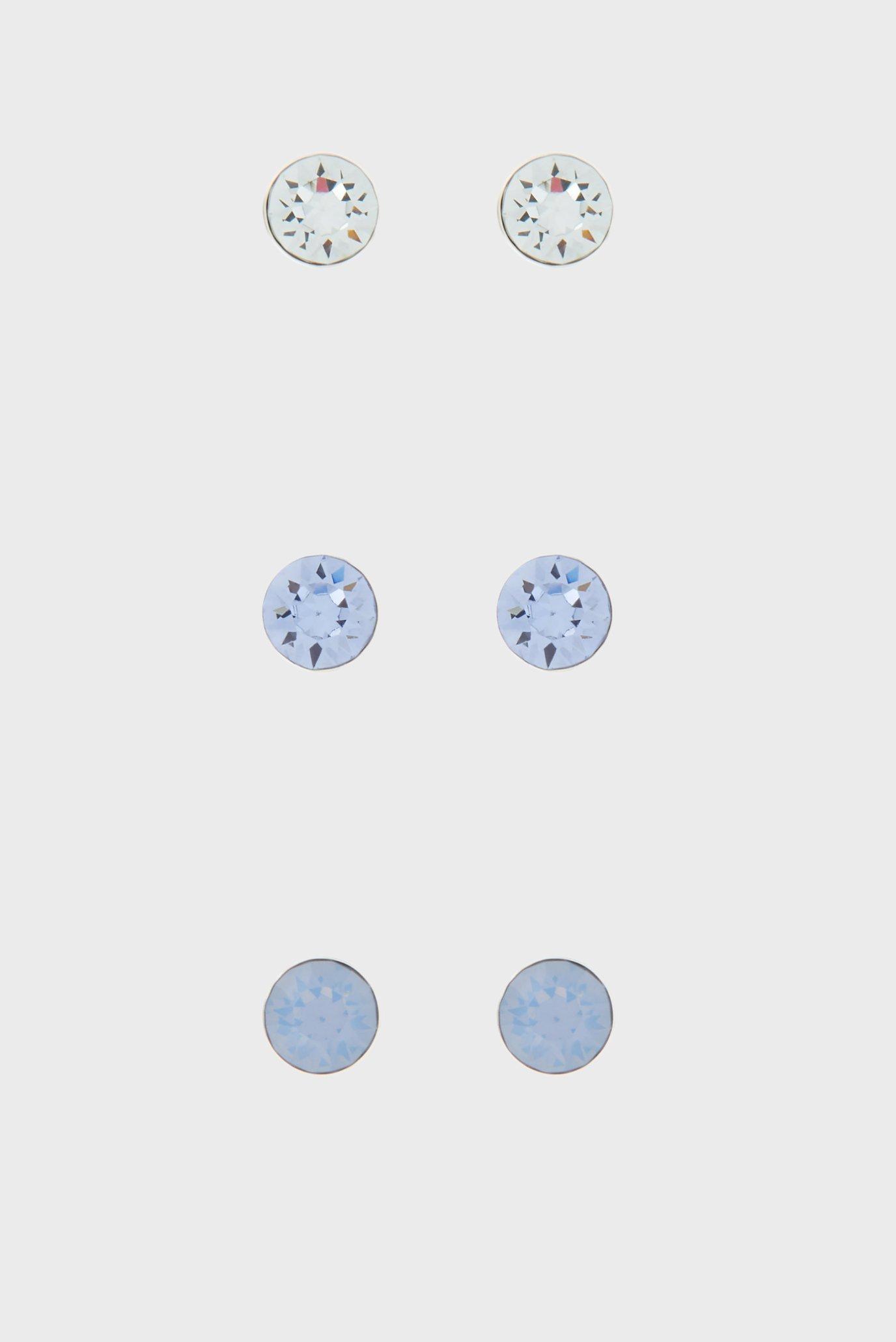 Жіночі срібні сережки SWAROVSKI STUD (3 пари) 1