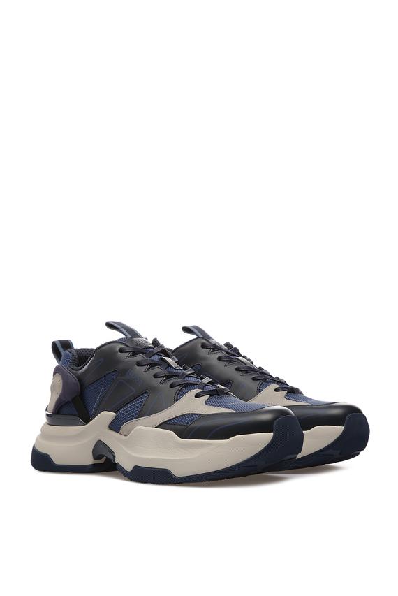 Мужские синие кожаные кроссовки