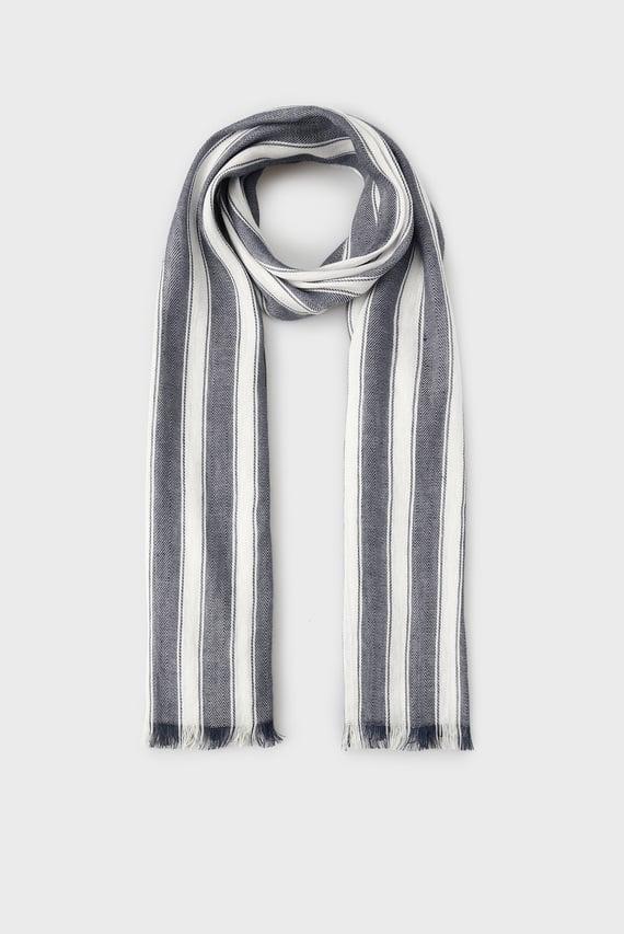Женский синий шарф в полоску