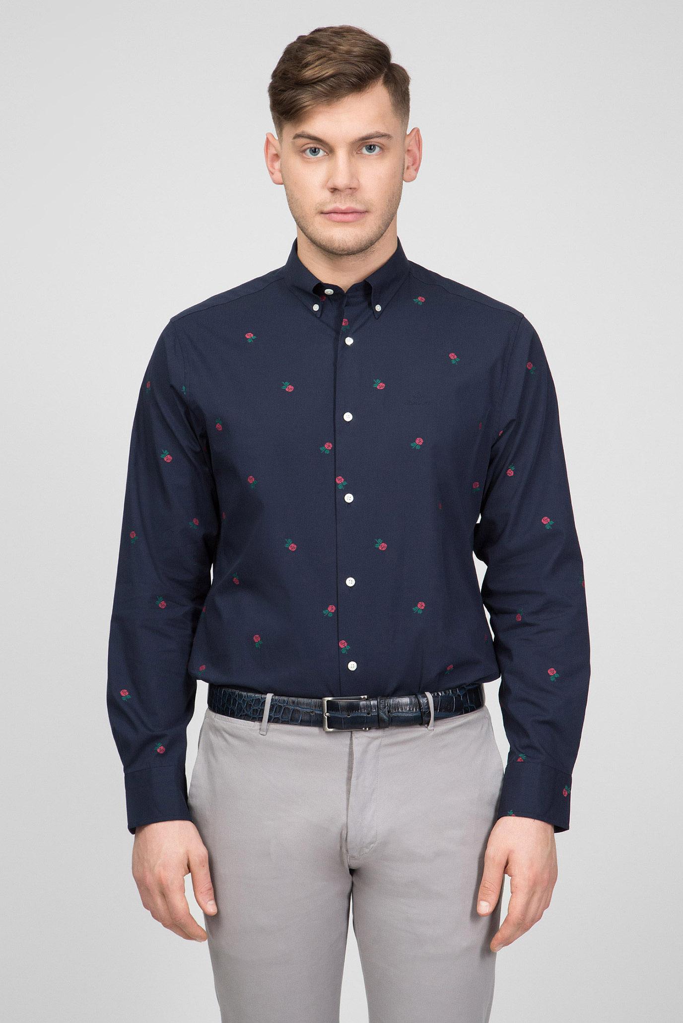 fc0478e964d Купить Мужская темно-синяя рубашка с принтом Gant Gant 3002270 – Киев