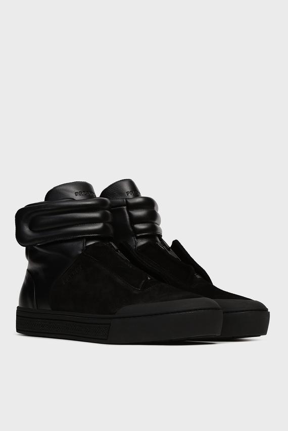 Мужские черные кожаные хайтопы Figo