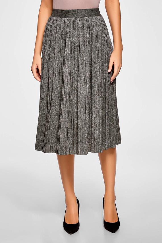 Женская серебристая плиссированная юбка