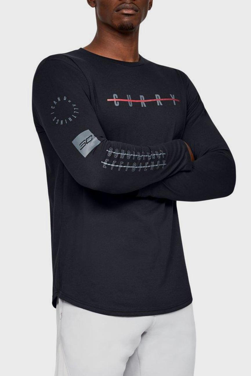 Мужской черный лонгслив с принтом SC30 CONSISTENCY LS TEE