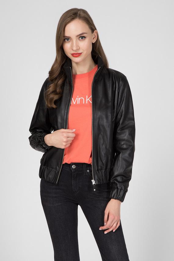 Женская черная кожаная куртка RIBBED COLLAR
