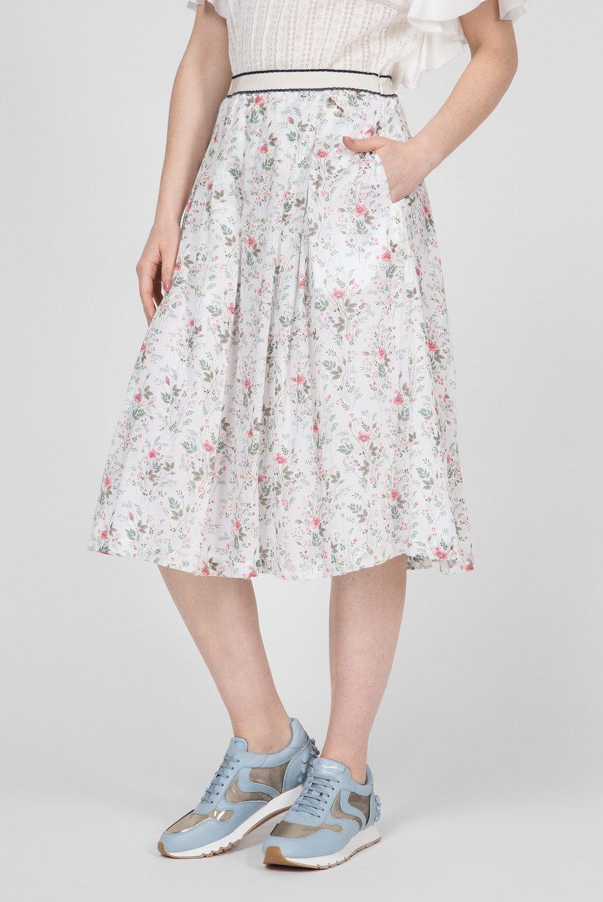 Женская белая юбка с принтом