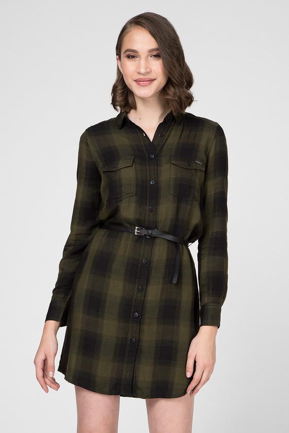 Женское зеленое платье-рубашка в клетку CHELO