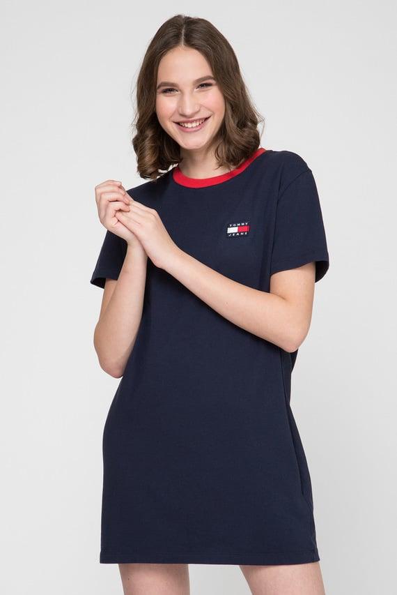 Женское темно-синее платье-футболка TJW CONTRAST NECK RIB