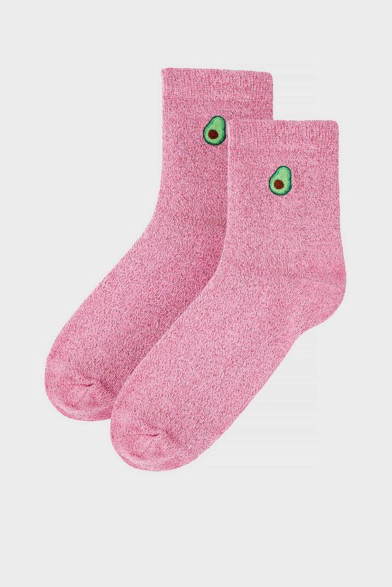 Женские розовые носки AVOCADO EMBROIDERY S