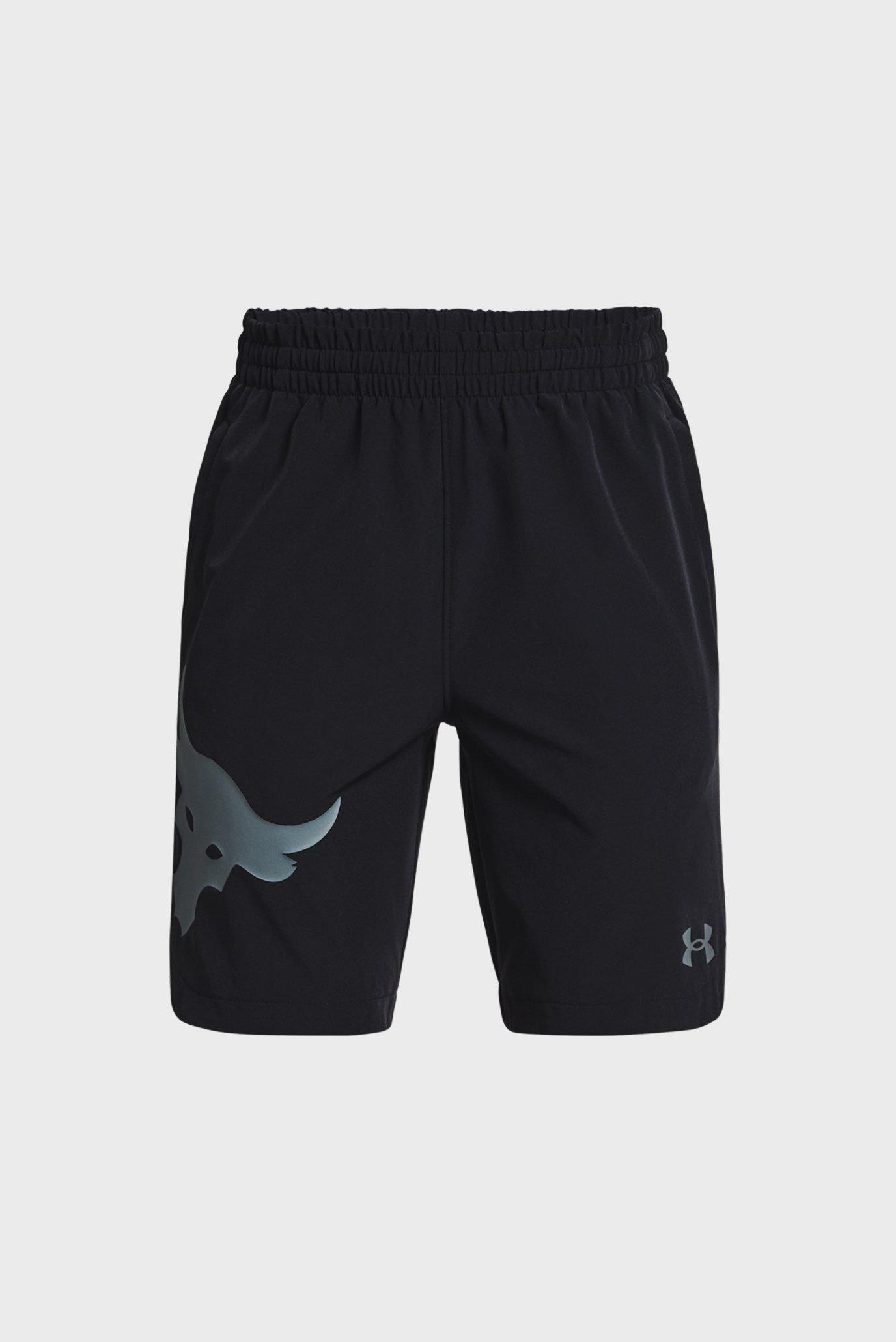 Детские черные шорты UA Project Rock Woven Shorts 1