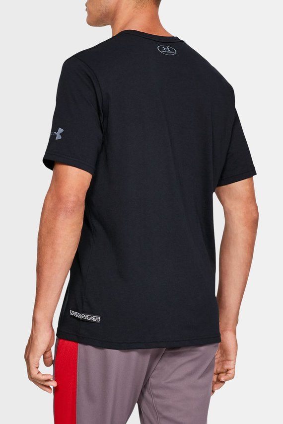 Мужская черная футболка с принтом UA BASELINE GRAPHIC SS