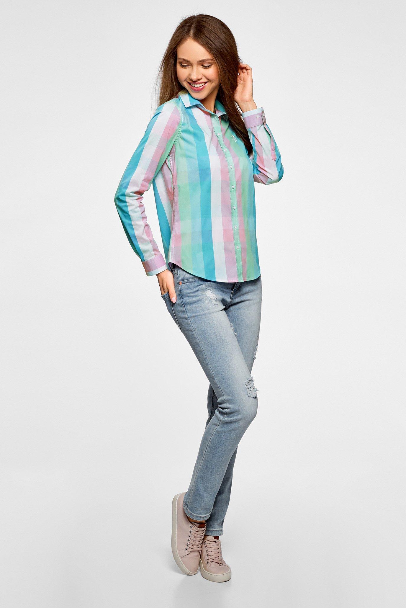 d4bc21f0b654 Купить Женская ментоловая рубашка в клетку Oodji Oodji 11411131 ...