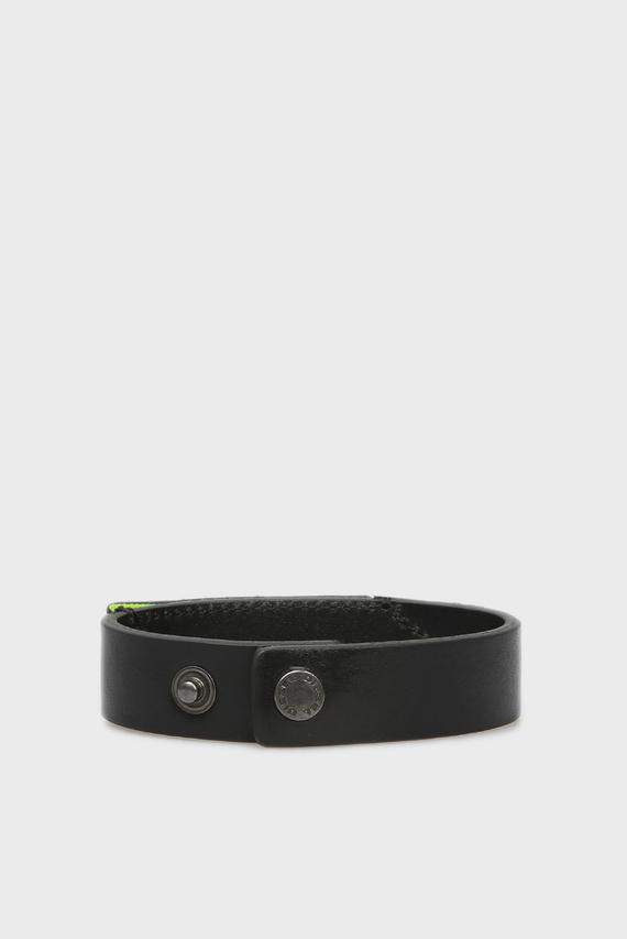Мужской черный кожаный браслет A-PATCH