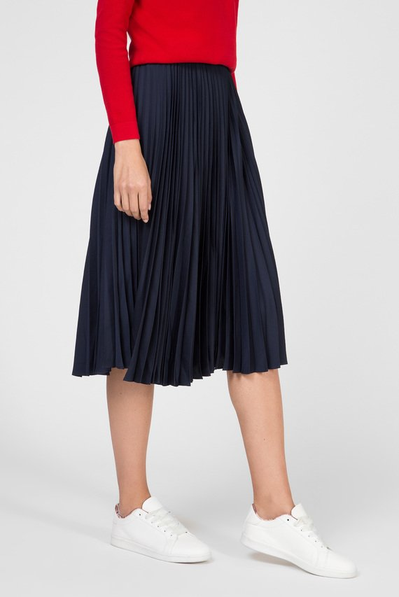 Женская темно-синяя плиссированная юбка