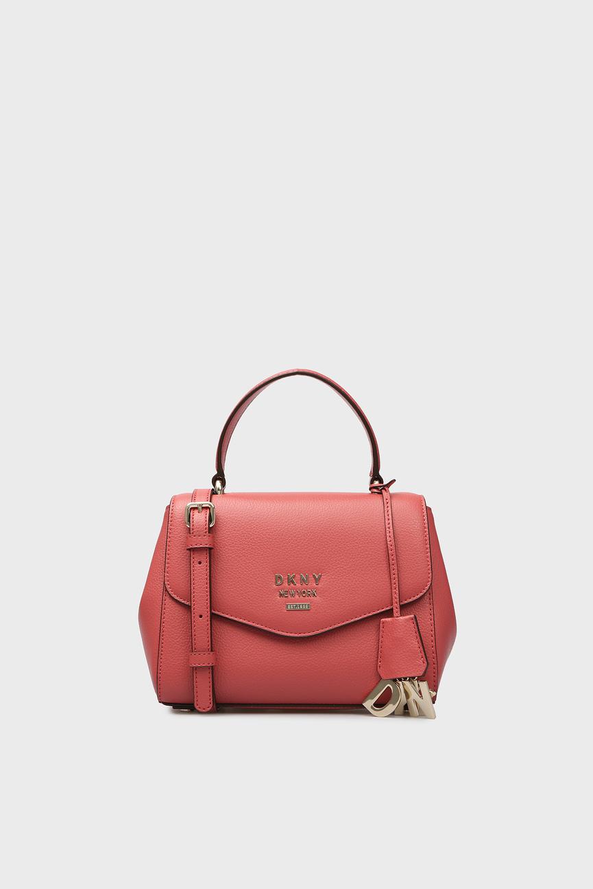 Женская красная кожаная сумка через плечо HUTTON