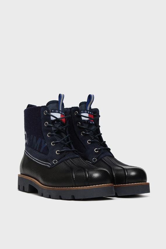 Мужские темно-синие кожаные ботинки TOMMY JEANS LIGHT DUCKBOOT