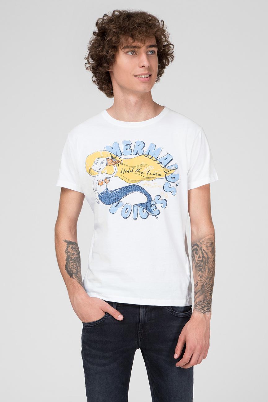 Мужская белая футболка с принтом DALE