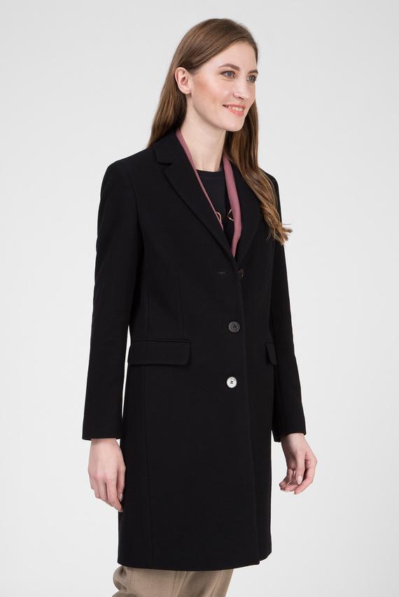 Женское черное шерстяное пальто