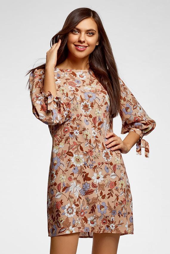 Женское персиковое платье с принтом