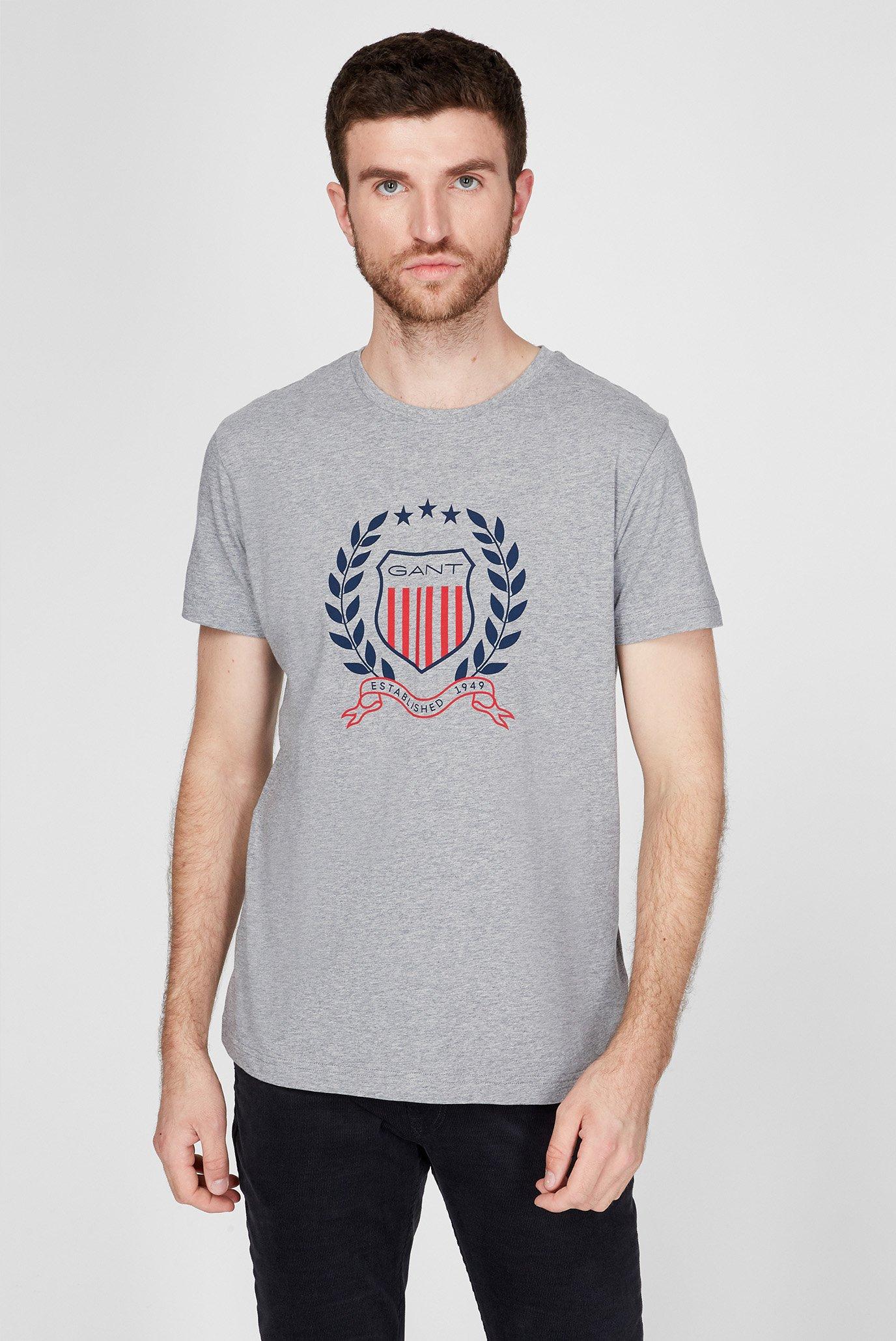 Мужская серая футболка GANT CREST 1