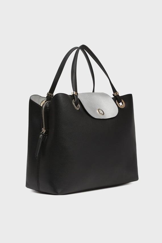 Женская черная сумка на плечо MY TOMMY SATCHEL