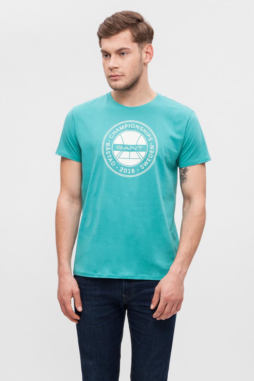 Мужская бирюзовая футболка с принтом