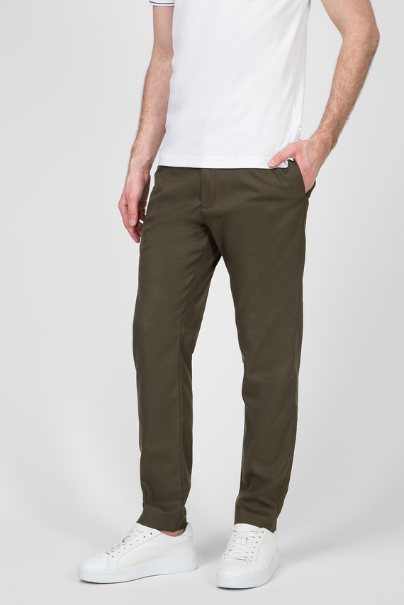 Мужские зеленые брюки TAPERED ELASTIC TWILL