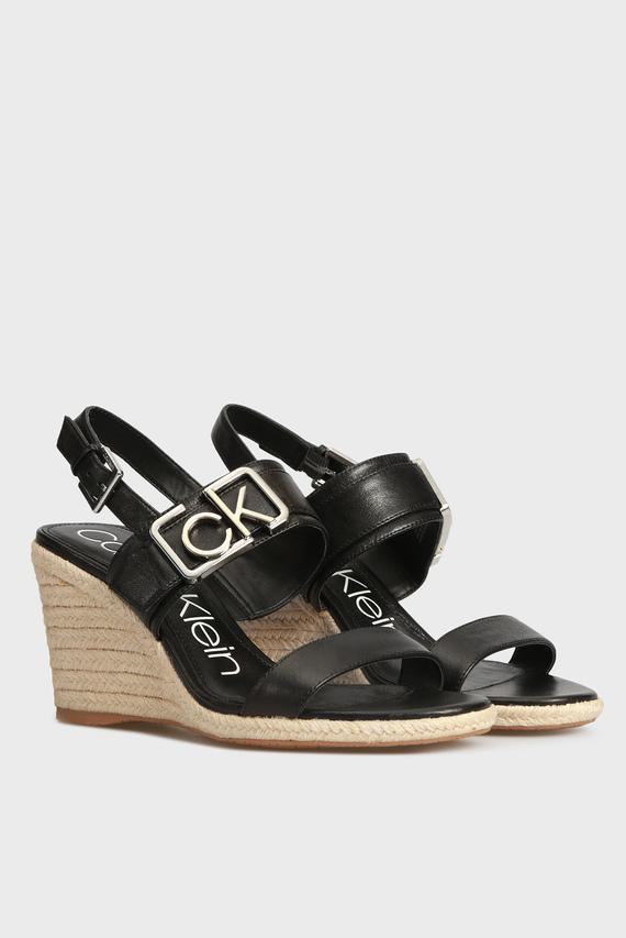 Женские черные кожаные босоножки BELOPA