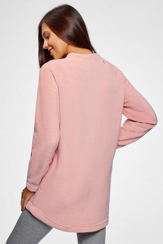 Женский розовый домашний свитшот