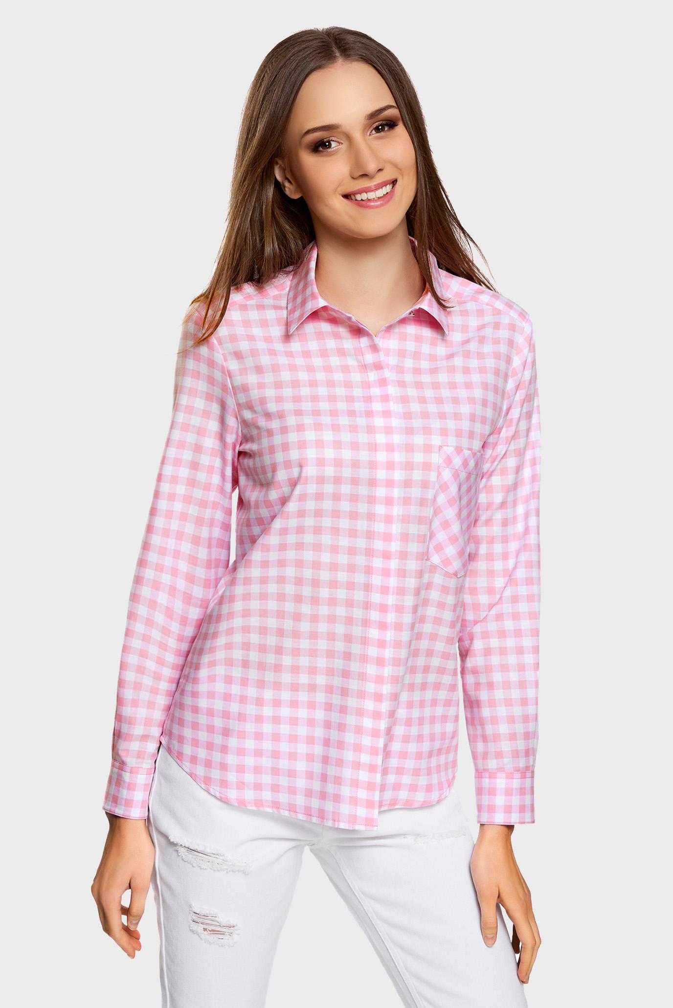 05b9ccdce7e4 Купить Женская розовая рубашка в клетку Oodji Oodji 11411099-1/43566 ...