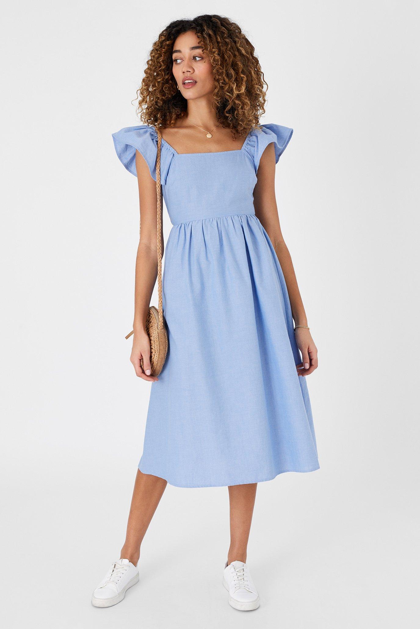 Жіноча блакитна сукня FRILL SHOULDER MIDI 1