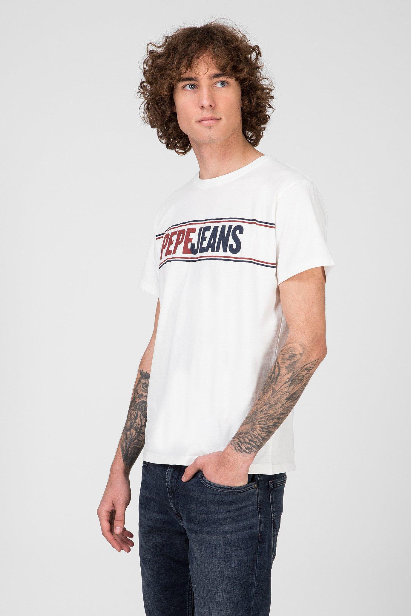 Мужская белая футболка KELIAN Pepe Jeans