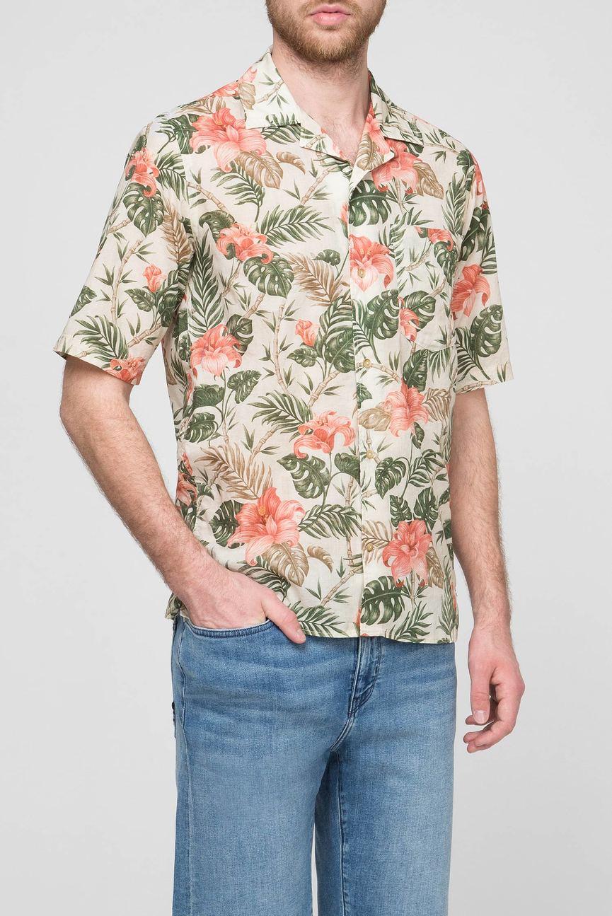 Мужская бежевая рубашка с принтом
