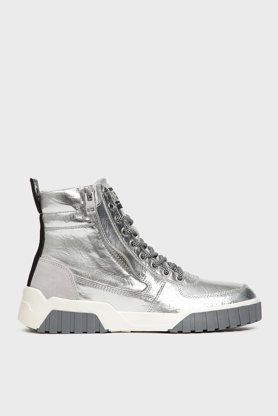 Женские кожаные серебристые ботинки LE RUA
