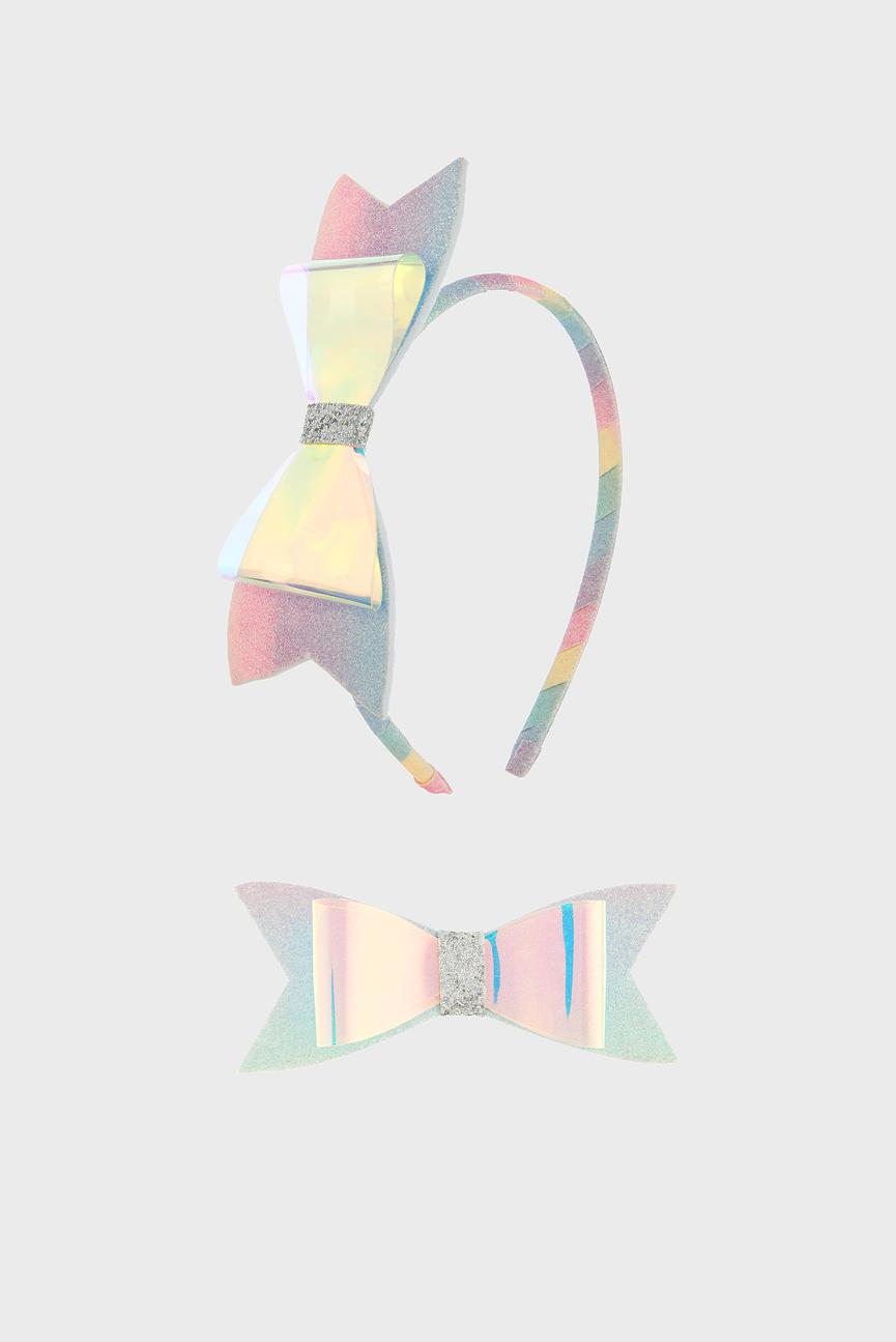 Детский набор аксессуаров (обруч, заколка) HOLOGRAPHIC RAINBOW