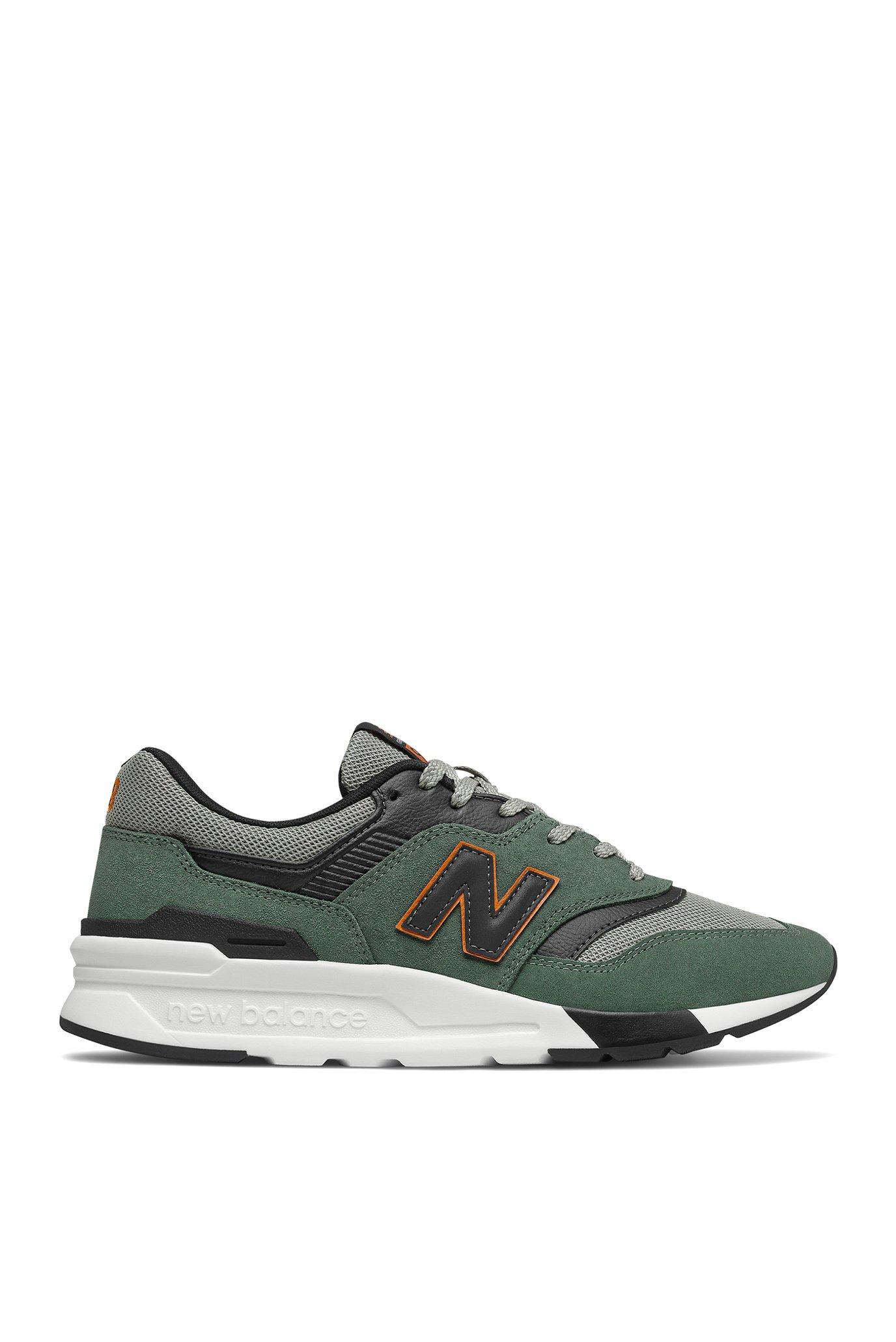 Мужские зеленые замшевые кроссовки 998 1