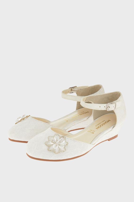 Детские бежевые туфли Layla Lace Wedge