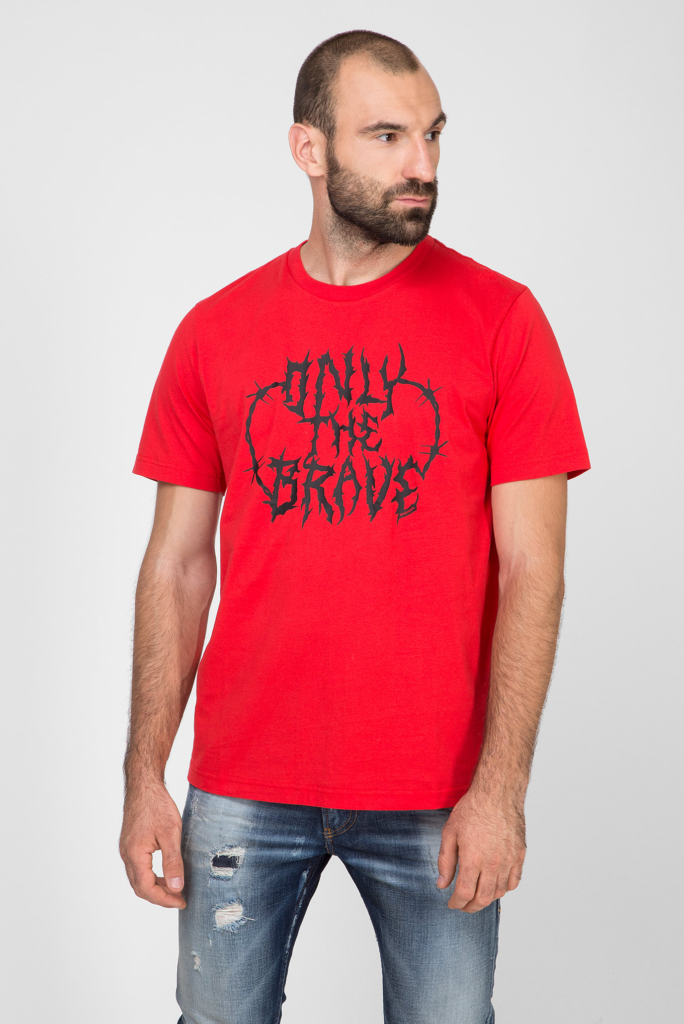 Мужская красная футболка с принтом T-JUST-B23 MAGLIETTA Diesel