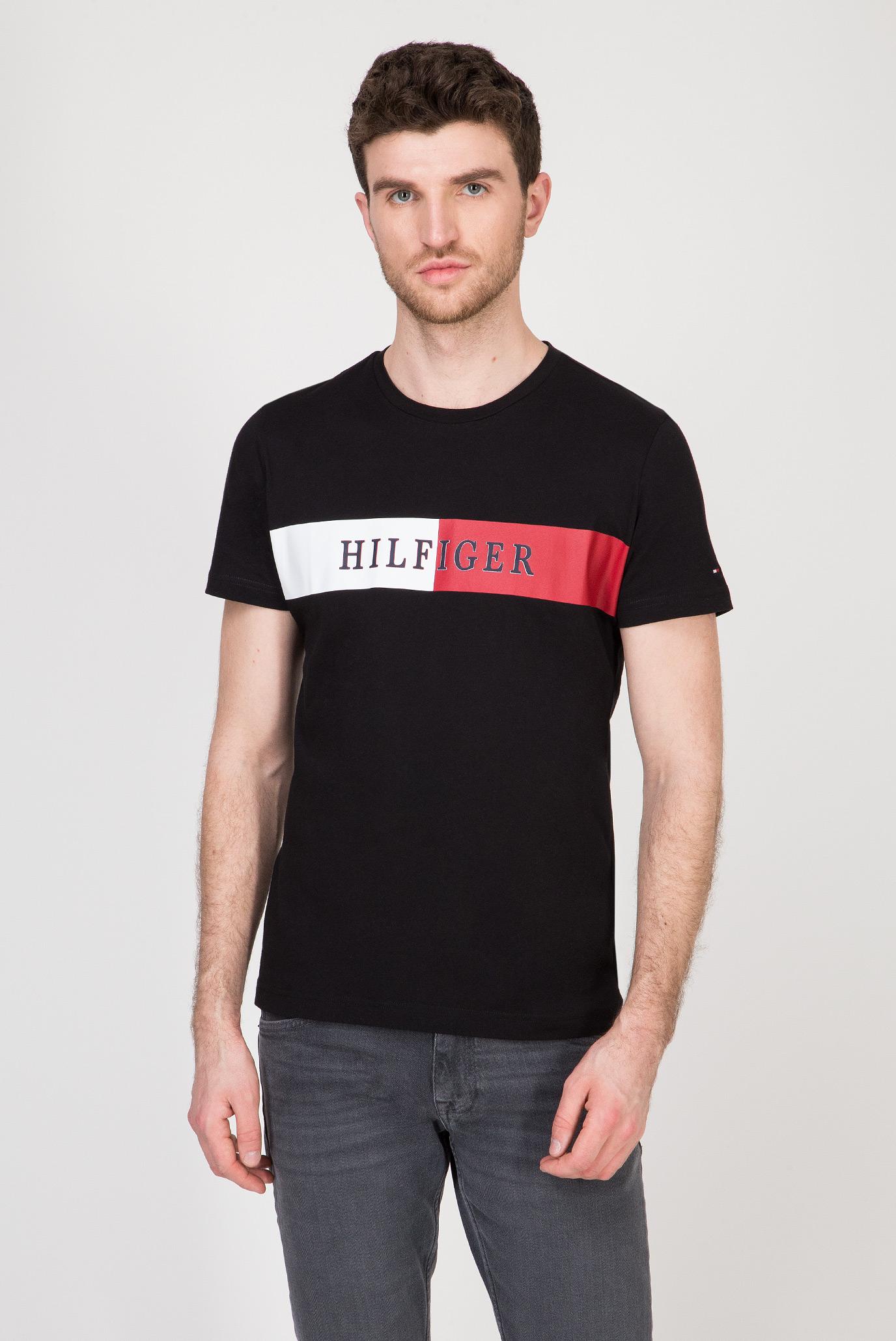 Мужская черная футболка BLOCK STRIPE 1