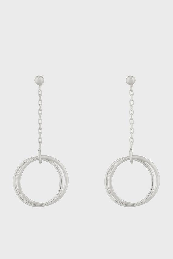 Женские серебряные серьги ST CIRCLE LINKED SHORT DROPS