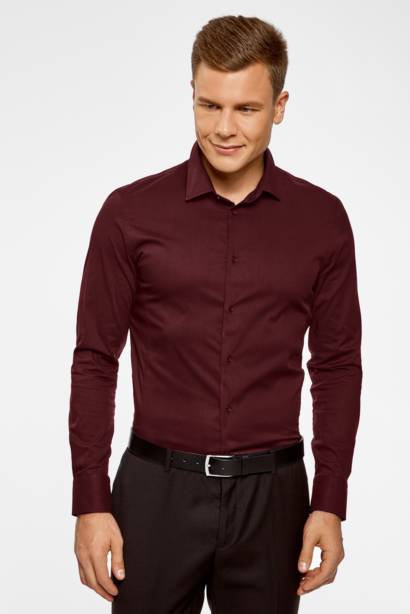 b12f555d901 Купить Мужская бордовая рубашка Oodji Oodji 3B140000M 34146N 4900N – Киев