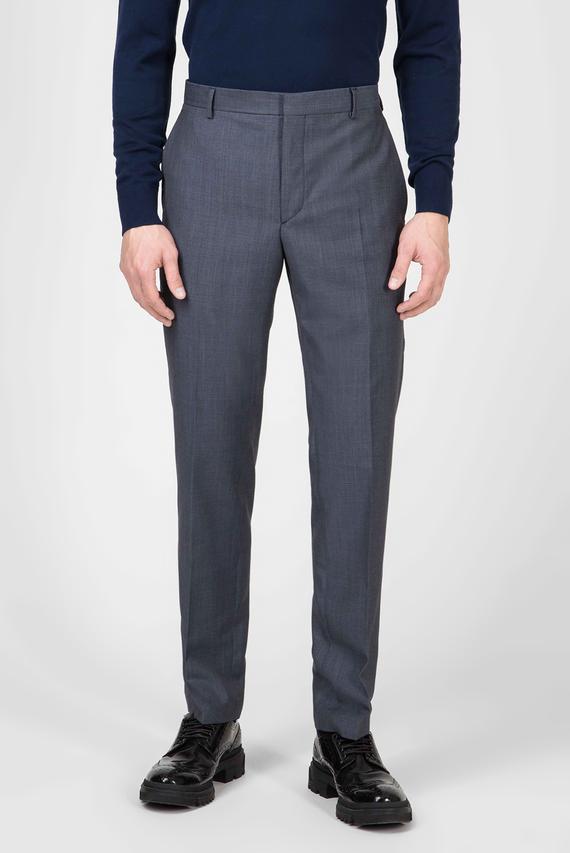 Мужские синие шерстяные брюки MICRO STRUCTURE