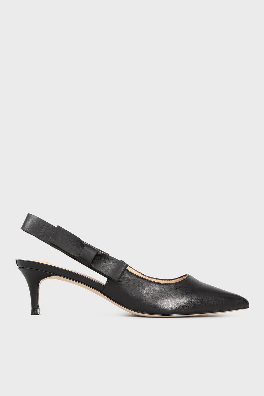 Женские черные кожаные туфли