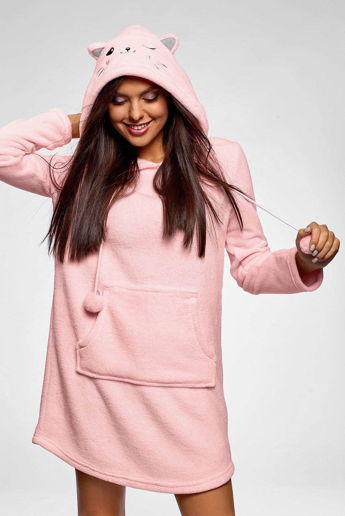 Женское розовое платье-худи Oodji