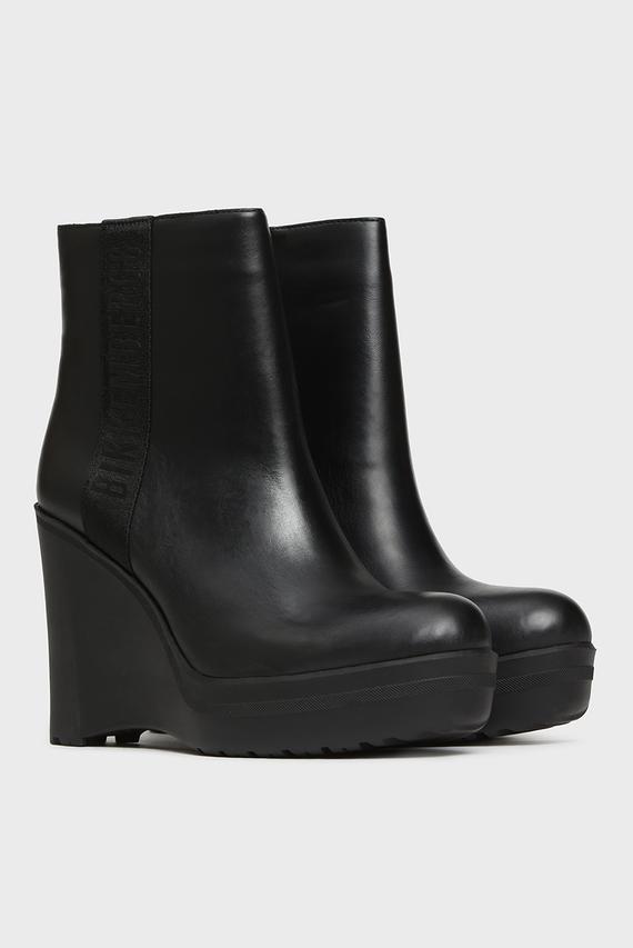 Женские черные кожаные ботильоны MICOL