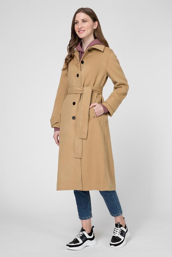 Женское бежевое шерстяное пальто DOUBLE FACE BELTED