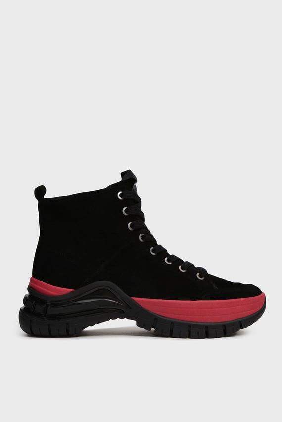 Женские черные замшевые ботинки TIMOTHA
