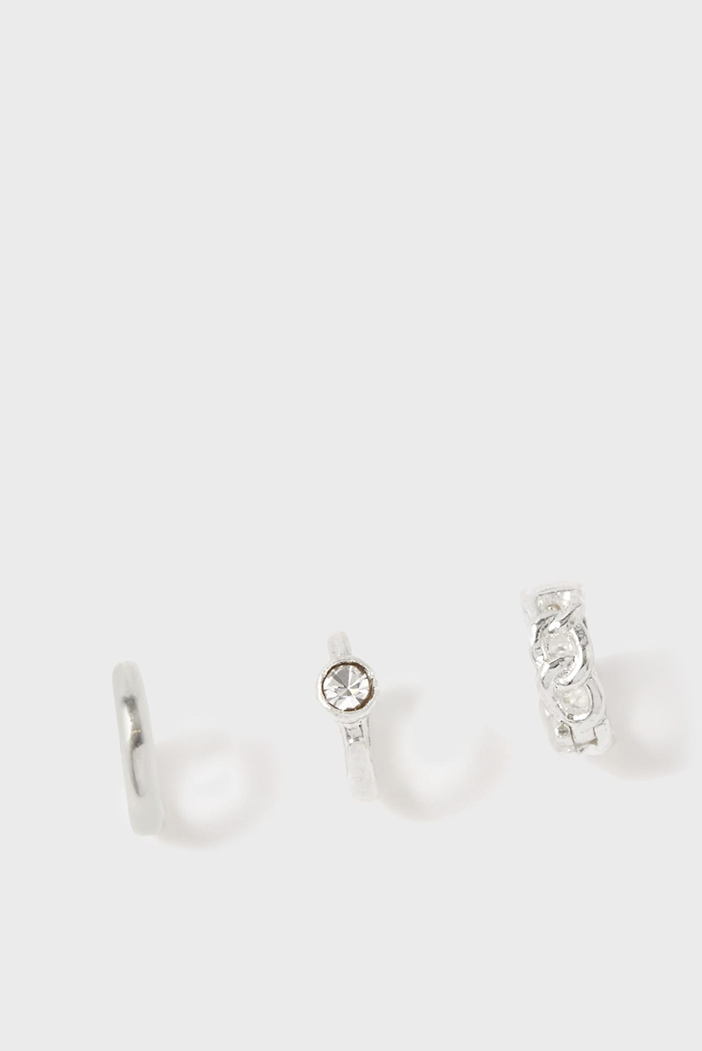 Женские серебристые серьги (3 шт) CHAIN PLAIN CRYS 1