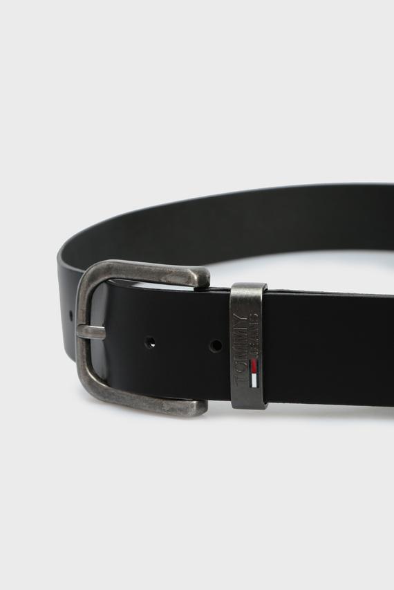 Мужской черный кожаный ремень TJM METAL LOOP